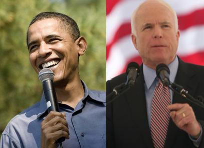 Democratic Presidential Nominee Barack Obama (l) and Republican Presidential Nominee John McCain.