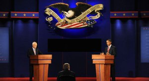 John McCain and Barack Obama faced each other in the second of three presidential debates Tuesday in Nashville, TN. Courtesy Mark Abraham