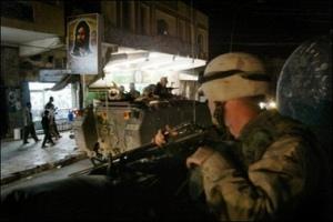 U.S. soldiers patrol Karbala, Iraq following the raid that killed 1st Lt. Jacob Fritz and three others in January, 2007