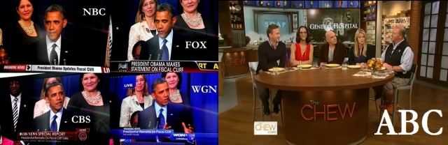 """President Barack Obama's """"fiscal cliff"""" update announcement on Dec. 31, 2012 was covered by every major cable and TV news operation with the exception of ABC News."""