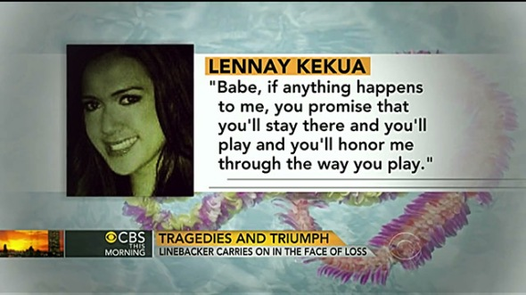 CBS also displayed this photo of the ficticious Kekua several times throughout the Morning Show report.