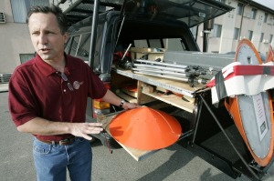 Tornado chaser Tim Samaras shows the probes he uses when trying to collect data from a tornado. This photo was taken May 26, 2006, in Ames, Iowa. Photo: Charlie Neibergall/AP