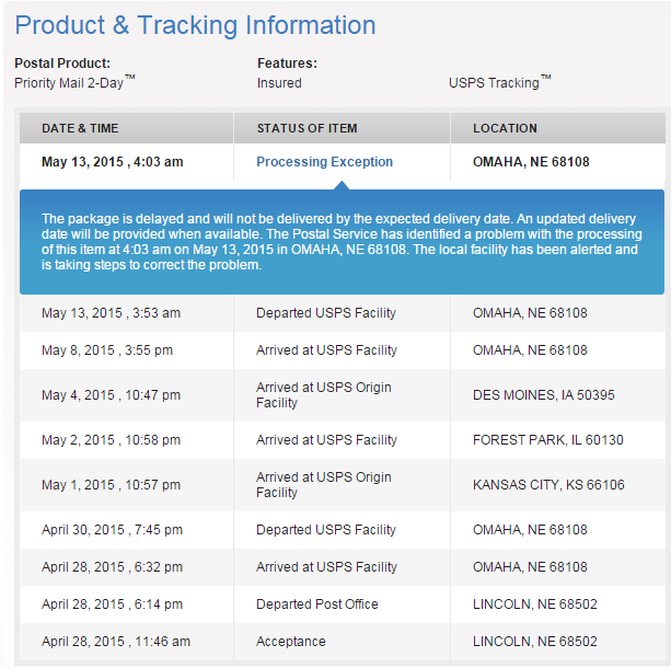 U.S. Postal Service Fail: 2 Day Priority Mail