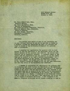 Lucille Bluford's letter to the University of Missouri in 1939 appealing her admission denial into the university's journalism graduate program. Click to open a larger image of the letter.