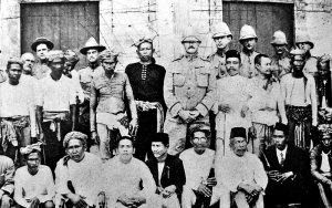 "General Pershing, pictured in the center, regularly consulted with Moro leaders called ""datos"" as he governed the Moro Province. Photo: National Archives"